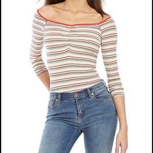 free people put a stripe on it thong bodysuit